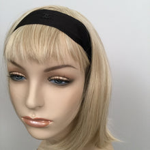 Load image into Gallery viewer, Chanel Black Silk grosgrain ribbon 2015 15A CC logo wide headband hair accessory