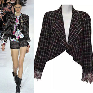 Chanel Black Multicolor Tweed Ostrich Feather Trim Blazer Dress Cardigan Jacket FR 38 US 4/6