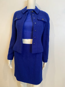 Vintage Chanel Boutique 97A, 1997 Fall Royal Blue wool boucle Skirt Suit Jacket Set FR 36 US 2/4