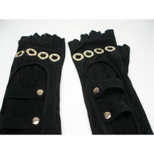 Load image into Gallery viewer, Rare! Chanel Long Fingerless Black Suede leather 08, 2008 Gold CC Logos Caged Gloves Sz 7.5