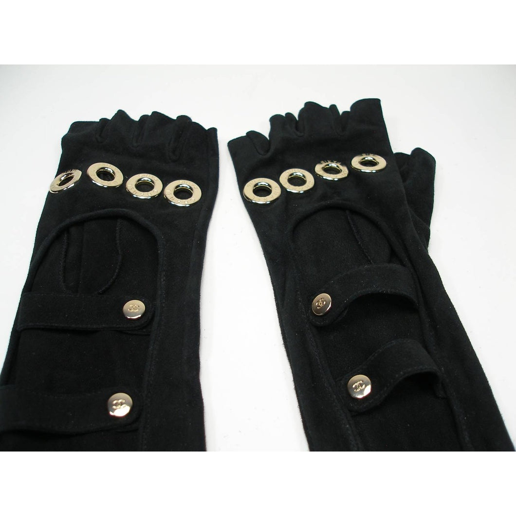 Rare! Chanel Long Fingerless Black Suede leather 08, 2008 Gold CC Logos Caged Gloves Sz 7.5