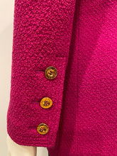 Load image into Gallery viewer, Vintage Chanel 80's/90's Bright Pink Boucle Wool Long Jacket FR 36