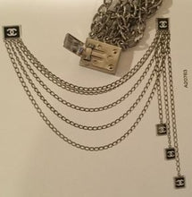Load image into Gallery viewer, Chanel Vintage 03C Multi Strand Silver Mirror Metal Belt Clip Necklace Accessory