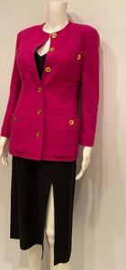 Vintage Chanel 80's/90's Bright Pink Boucle Wool Long Jacket FR 36