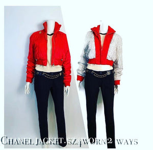 Chanel Identification 03A 2003 Fall Bomber Jacket Red Reversible CC Logo Sport Coat FR 38