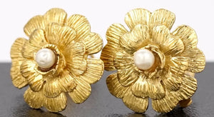 1980's Collection 23 Vintage Chanel Clip On Gold Pearl Camellia Earrings