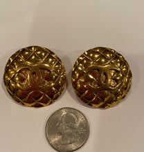 Load image into Gallery viewer, Chanel vintage quilted clip on CC gold plated metal round oversized earrings