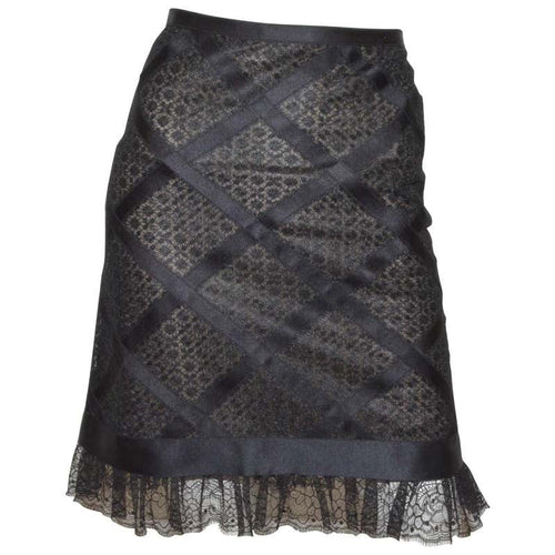 Chanel 07P 2007 Spring black birdcage lace skirt FR 46
