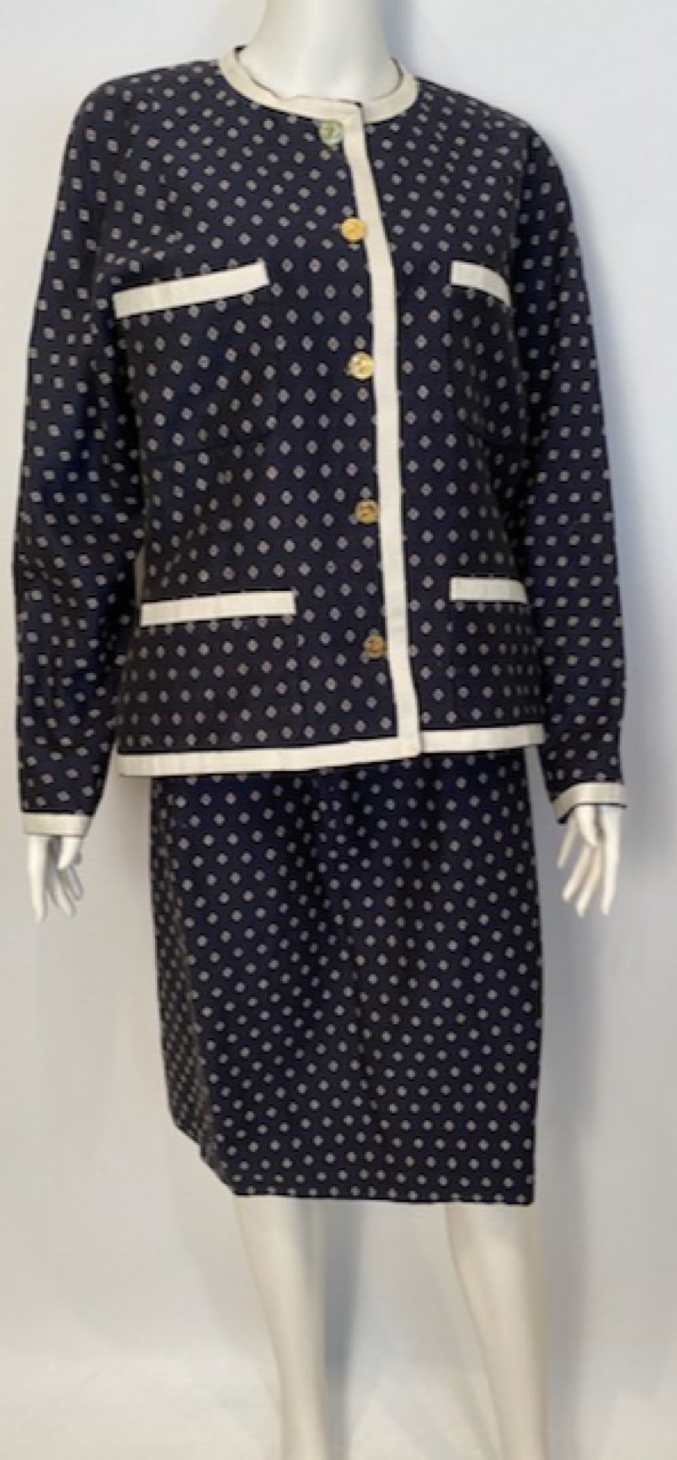 1970's Collection 16 Rare Chanel Vintage Navy Blue Skirt Suit FR 44