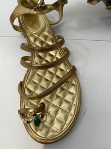 Chanel 15P Gold Leather Gladiator Strap Sandals with stones EU 39.5