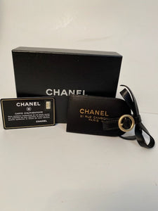New in Box Chanel 07A Black Leather Luggage Tag
