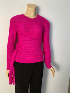 Chanel 2012 Fall 12A Pink Fuchsia Sweater w attached Scarf FR 34