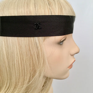 Chanel Black Silk grosgrain ribbon 2015 15A CC logo wide headband hair accessory