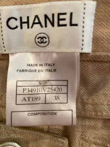 Chanel 09P, 2009 Spring Light Gold Straight Leg Jeans Pants FR 38 US 6/8