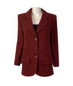 97A, 1997 Fall Vintage Chanel Mahogany Rust Boucle Blazer Jacket FR 38