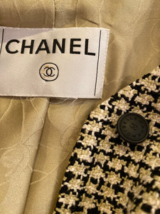 Chanel 02P, 2002 Spring pastel olive green Black Beige Tweed Vest attached jacket Blazer FR 36