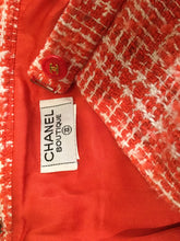 Load image into Gallery viewer, Vintage Chanel Boutique Orange White Tweed Plaid Wool Skirt Vintage US 10