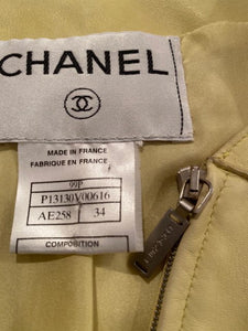 Vintage Chanel 99P, 1999 Spring yellow soft lambskin leather jacket FR 34 US 2/4