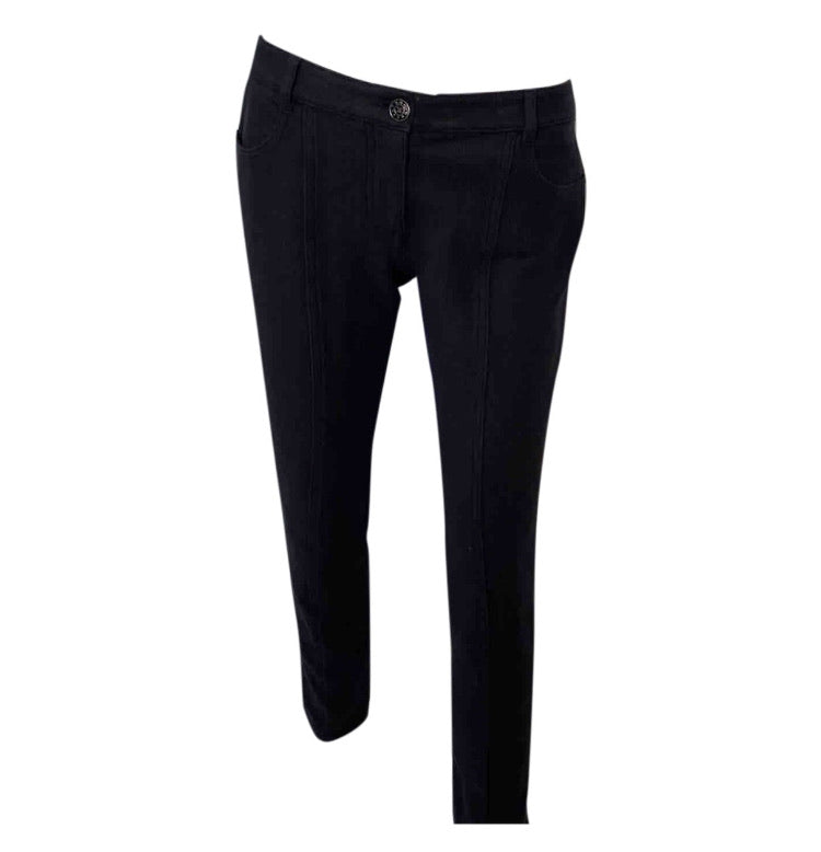 Chanel Black Cotton Low Waist Pant Jeans FR 38