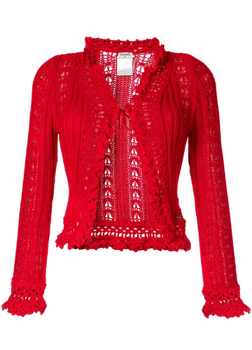 Chanel 04P 2004 Spring Red Cardigan FR 38 US 4/6/8