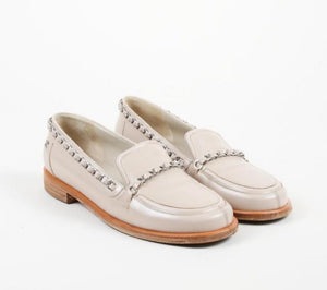 Chanel White patent leather chain loafers EU 38