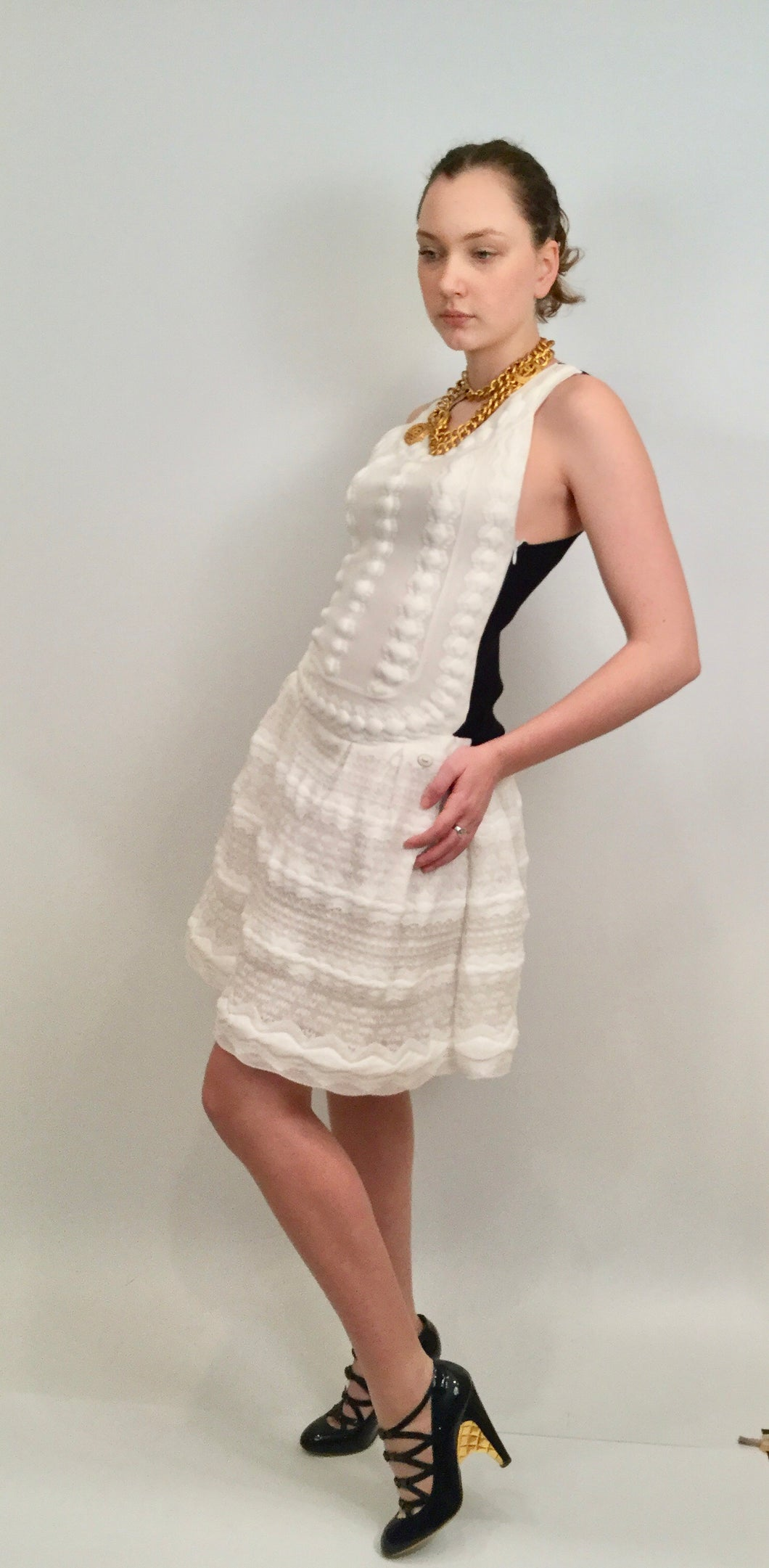 Chanel White and Black Lace Peplum Dress FR 38 US 4/6