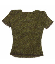 Load image into Gallery viewer, Vintage Chanel 98A tweed wool pullover short sleeve olive mohair sweater top blouse FR 42 US 6/8/10