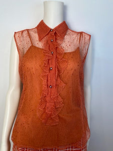 Vintage Chanel 02P, 2002 Spring 2-piece Orange Top Blouse Camisole sheer Lace Set FR 38