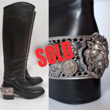 Load image into Gallery viewer, Chanel 07A Paris Monte Carlo Lion Head Icons tall black leather riding boots EU 39.5 US 8.5/9