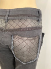 Load image into Gallery viewer, Chanel black with leather patchwork Denim Jeans Pants FR 38 US 4