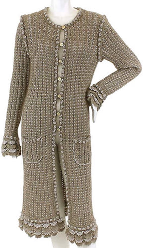 Chanel 04A Fall Cardigan Long Jacket Cardi Coat duster fall beige taupe silver mohair wool US 4