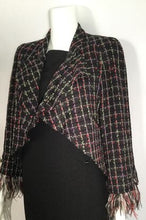 Load image into Gallery viewer, Chanel Black Multicolor Tweed Ostrich Feather Trim Blazer Dress Cardigan Jacket FR 38 US 4/6