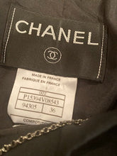 Load image into Gallery viewer, Vintage Chanel 00T, 2000 Transition Collection Black Collarless Short Jacket FR 36