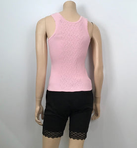 Chanel Pink Ribbed Tank Top Blouse US 4/6