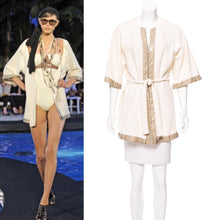 Load image into Gallery viewer, Chanel Swim Robe Ivory Metallic terrycloth Cotton Gold CC Logos 09C Cruise Resort FR 36 US 4/6/8