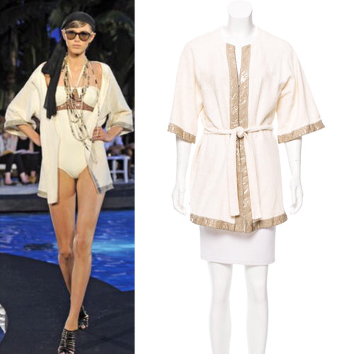 Chanel Swim Robe Ivory Metallic terrycloth Cotton Gold CC Logos 09C Cruise Resort FR 36 US 4/6/8