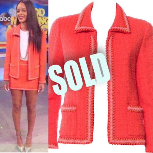94P, 1994 Spring Extremely Rare! Vintage Chanel Orange Tweed Scobido Trim Boucle  Jacket FR 36 US 4