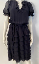 Load image into Gallery viewer, Chanel 01P Navy Blue Silk Chiffon Ruffle short sleeve dress FR 38 US 4