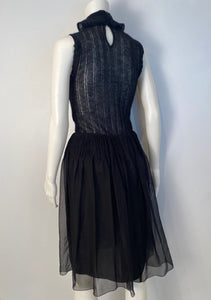 Chanel 06A, 2006 Fall Black Silk Chiffon Skirt FR 36 US 4