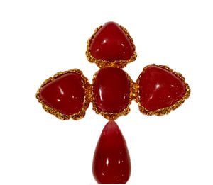 Chanel vintage 1989 collection 28 Large matte Red brick Cross gripoix poured glass pin brooch