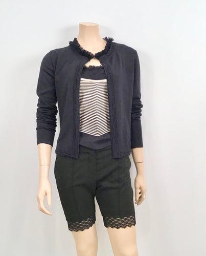 Chanel 02C Cruise Resort Twinset Spaghetti Strap Top Cardigan Navy Blue White FR 34 US 2
