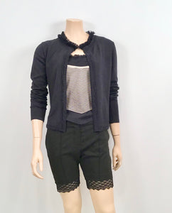 Preowned Chanel 02C Cruise Resort Twinset Spaghetti Strap Top Cardigan Navy Blue White FR 34 US 2