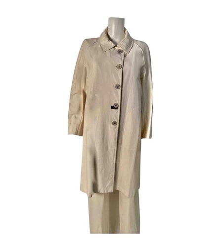 Vintage Chanel Ivory Water Resistant Trench Rain Coat US 8