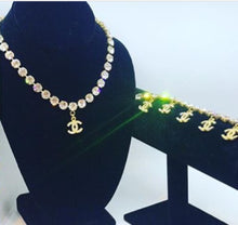 Load image into Gallery viewer, RARE Chanel 96P, 1996 Spring Vintage Gold Metal Crystals CC Bracelet Necklace Set