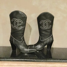 Load image into Gallery viewer, Chanel Black Cowboy Western Boots EU 38.5 US 7.5