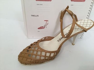 Chanel 04C Cruise Resort Vintage Tan Beige Trellis Leather Strap Trellis Caged Leather Strap Sandal Heels EU 38.5 US 7.5/8