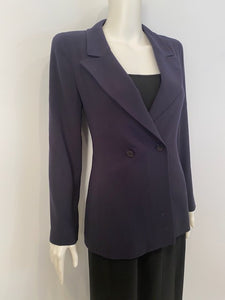 Vintage Chanel 98A, 1998 Fall Double Breasted Dark Navy Blue Jacket FR 38 US 4