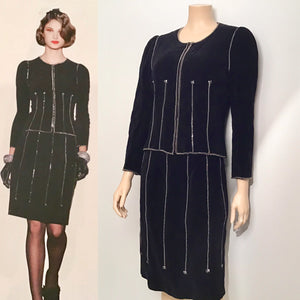 Chanel Vintage 06A Fall Autumn Velvet Cotton Zipper Chains Jacket Skirt Suit Set FR 42 US 6/8