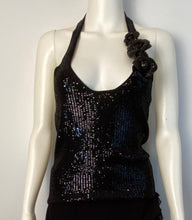 Load image into Gallery viewer, Chanel 08C Camellia black sequin top halter blouse FR 36