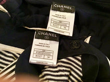 Load image into Gallery viewer, Preowned Chanel 02C Cruise Resort Twinset Spaghetti Strap Top Cardigan Navy Blue White FR 34 US 2